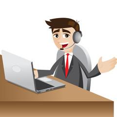 cartoon businessman with headphone