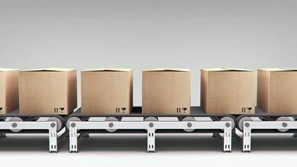 conveyor with carton's animation