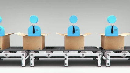 new employees conveyor animation