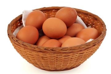 Panier d'œufs frais