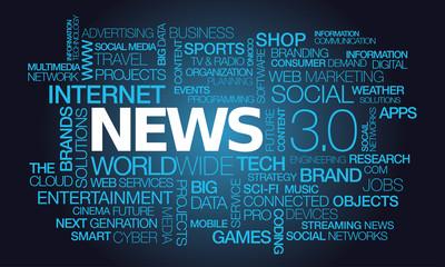 News 3.0 media press wiki words tag cloud illustration
