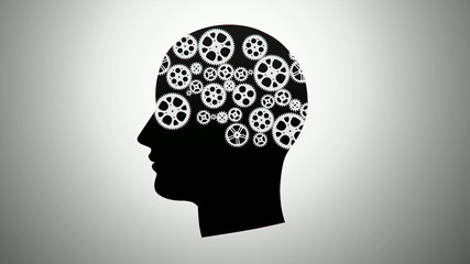 silhouette of a person with gears