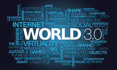 World 3.0 the internet of things words tag cloud illustration
