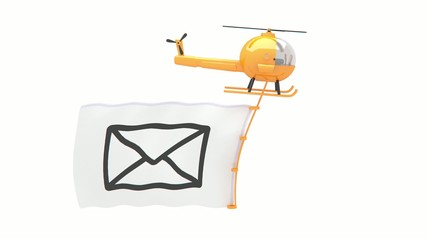 helicopter with mail flag