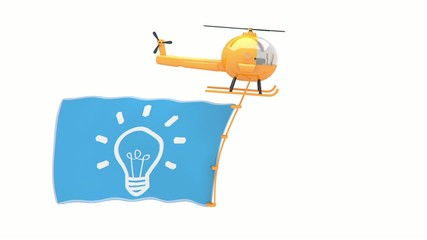 helicopter with idea flag