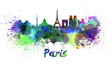 Paris skyline in watercolor