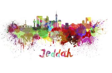 Jeddah skyline in watercolor