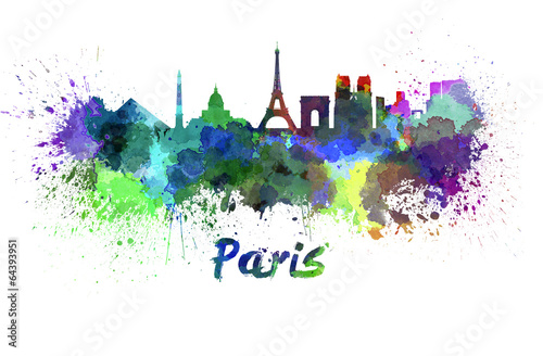 Poster, Tablou Paris skyline in watercolor