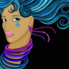 viso di donna con capelli turchesi