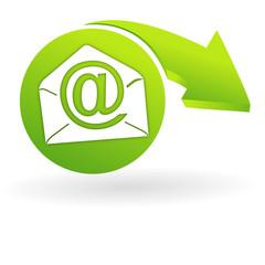 courrier électronique sur web symbole vert