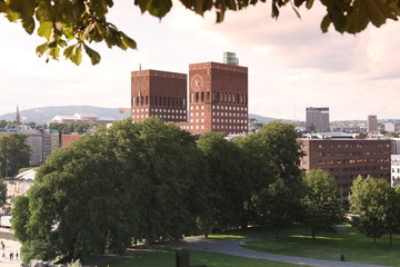 Sundown Park and City Hall (Radhuset), Oslo, Norway