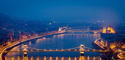 Budapest, night panorama on Danube