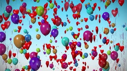 Balloons, hearts & confetti celebration.