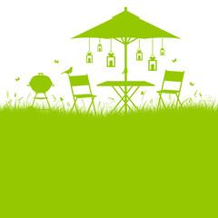 Summer Garden Barbecue Background Green