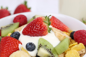 Nahaufnahme Früchte Müsli mit Joghurt zum Frühstück