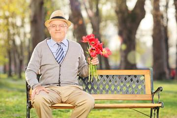 Elderly gentleman holding red tulips seated in park