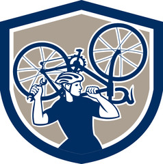 Bicycle Mechanic Carry Bike Shield Retro