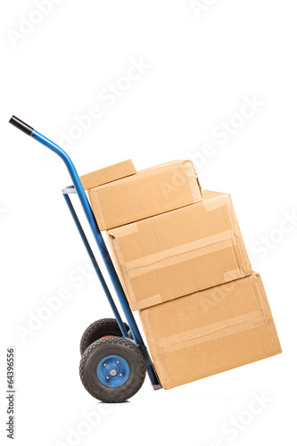 Hand truck full of boxes