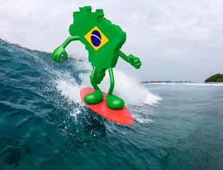 brasilian map with arms and legs on surf board