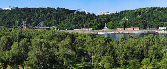 View on the right bank of the Dnieper river in Kiev