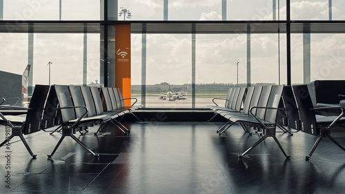 Foto op Canvas Luchthaven Waiting room inside Wien International airport.