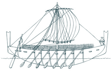 Vector illustration. Ancient Phoenician ship