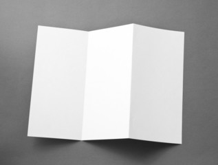 Blank folding page booklet on gray background.