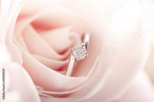 canvas print picture Engagement ring in pink rose