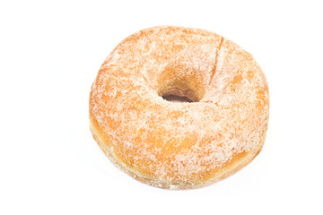 Donut powdered with suger isolated on white