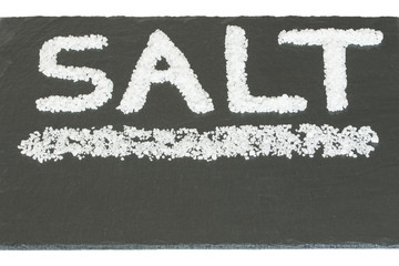 Salt spelled with salt on slate