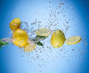 Lemons with water splash