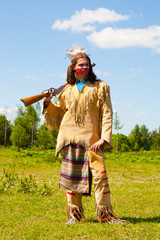 North American Indian with the weapon