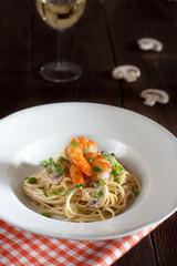 A delicious mushroom and shrimp linguine pasta dish
