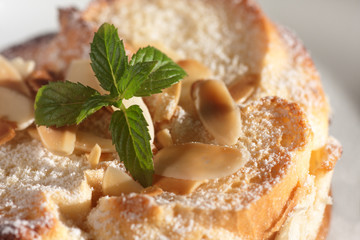 Closeup of freshly baked bread pudding