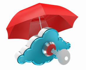 cloud computing with red umbrella protection network