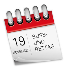 Kalender rot 19 November Buß- und Bettag