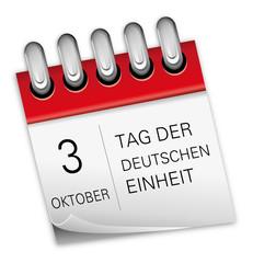 Kalender rot 3 Oktober Tag der Deutschen Einheit