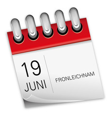 Kalender rot 19 Juni Fronleichnam