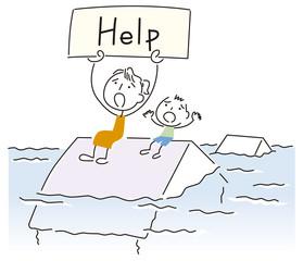 洪水で助けを求める親子