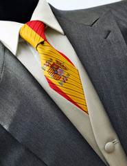Wedding dress with flag Spain on tie