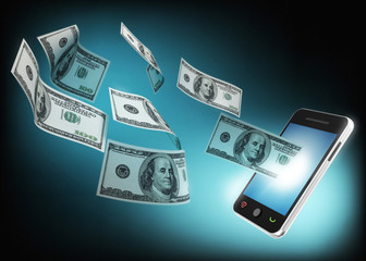 mobile phone and money flying from in the screen