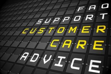 Customer care buzzwords on black mechanical board