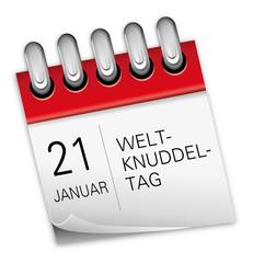 Kalender rot 21 Januar Weltknuddeltag National Hug Day