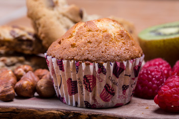 home made muffins with hazelnuts and fruits
