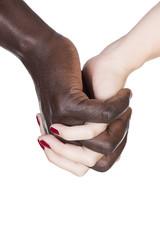 black and caucasian hands
