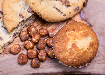 home made muffins with hazelnuts and cookies