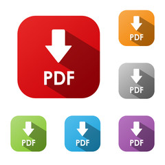 """DOWNLOAD PDF"" Buttons (save document internet web icon upload)"
