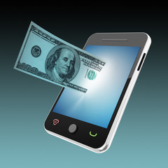 mobile phone and money concept
