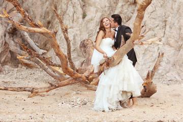 Bride and groom sitting on a big tree