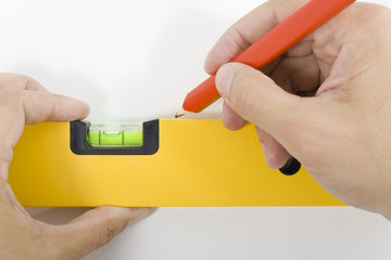 Horizontal leveling / Measurement of a spirit level.